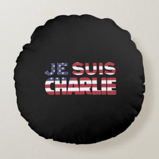 Je Suis Charlie -I am Charlie Stars & Stripes US Round Pillow