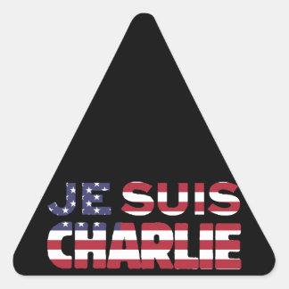 Je Suis Charlie -I am Charlie Stars & Stripes US Triangle Sticker