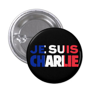 Je Suis Charlie -I am Charlie Tri-Color of France Pinback Button