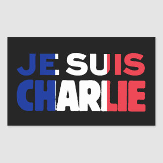 Je Suis Charlie -I am Charlie Tri-Color of France Rectangular Sticker