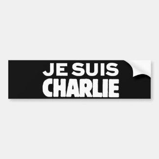 Je Suis Charlie - I am Charlie- White on Black Bumper Sticker