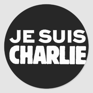 Je Suis Charlie - I am Charlie- White on Black Classic Round Sticker