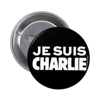 Je Suis Charlie - I am Charlie- White on Black Pinback Button