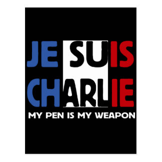 JE SUIS CHARLIE - MY PEN IS MY WEAPON POSTCARD
