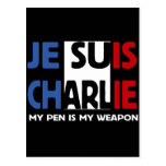 JE SUIS CHARLIE - MY PEN IS MY WEAPON POSTCARDS