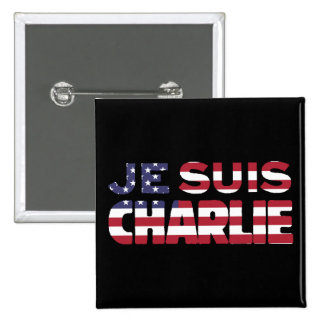 Je Suis Charlie - soy Charlie-Estrellas y rayo los Pin Cuadrado