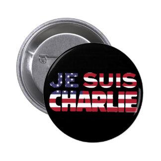 Je Suis Charlie - soy Charlie-Estrellas y rayo los Pin Redondo De 2 Pulgadas