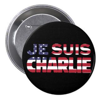 Je Suis Charlie - soy Charlie-Estrellas y rayo los Pin Redondo De 3 Pulgadas