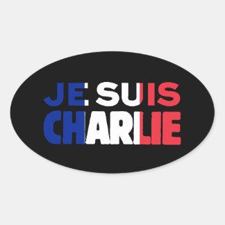 Je Suis Charlie - soy Charlie tricolor de Francia Calcomania Oval
