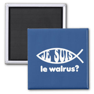 Je Suis Le Walrus 2 Inch Square Magnet