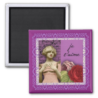 Je T'aime Purple Romantic Girl Vintage Collage 2 Inch Square Magnet