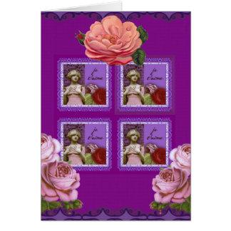 Je T'aime Purple Romantic Girl Vintage Collage Card