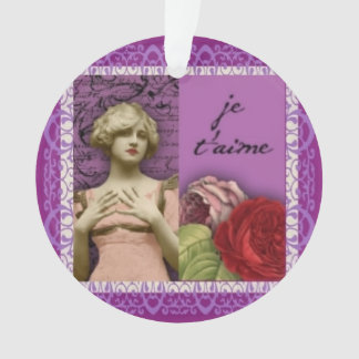 Je T'aime Purple Romantic Girl Vintage Collage Ornament