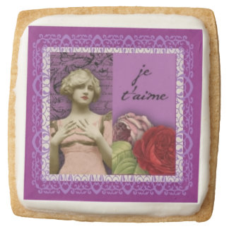 Je T'aime Purple Romantic Girl Vintage Collage Square Shortbread Cookie