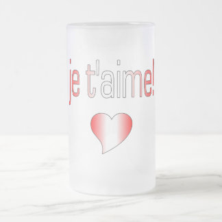 Je t'aime! Canada Flag Colors 16 Oz Frosted Glass Beer Mug