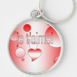 Je t'aime! Canada Flag Colors Pop Art Silver-Colored Round Keychain