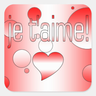 Je t'aime! Canada Flag Colors Pop Art Square Stickers