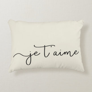 Je T'aime | French Typography Black on Ecru Decorative Pillow