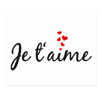 Je t'aime, French word art with hearts Postcard