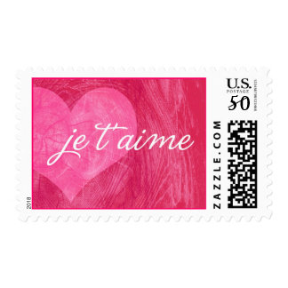 je t'aime heart - magenta postage