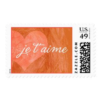 je taime heart - orange red postage