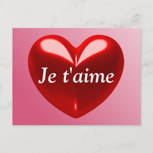 JE T'AIME - I LOVE YOU (French) Holiday Postcard