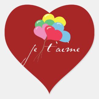 Je' taime (I love you) Heart Sticker