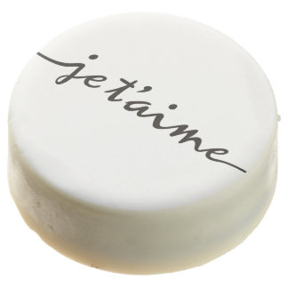 je t'aime - I love you in French - black Chocolate Covered Oreo