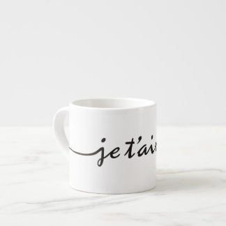 je t'aime - I love you in French - black Espresso Cup