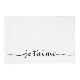 je t'aime - I love you in French - black Placemat