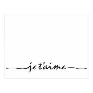 je t'aime - I love you in French - black Postcard