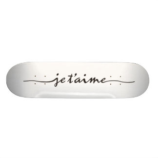 je t'aime - I love you in French - black Skateboard Deck