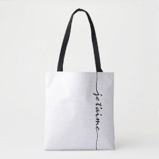 je t'aime - I love you in French - black Tote Bag
