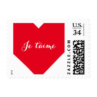 Je taime I Love You in French Heart Postage Stamp