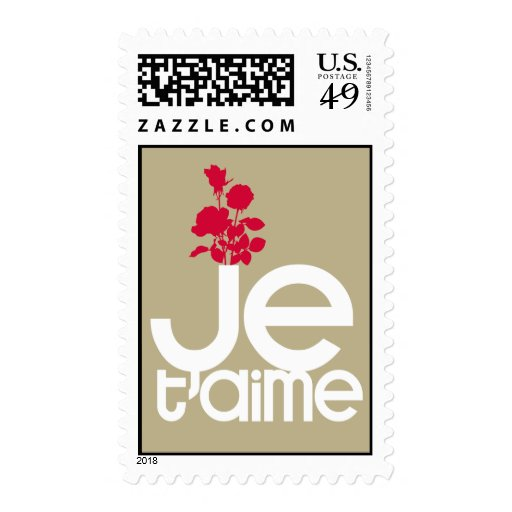 JE T'AIME ♥ I LOVE YOU POSTAGE STAMPS