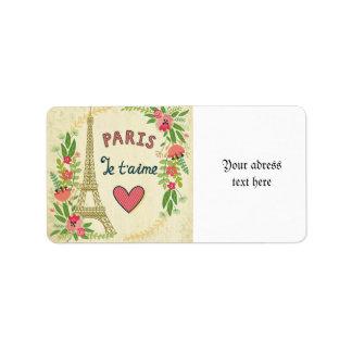 je t'aime,paris,vintage,eiffeltower,heart,flower,r address label