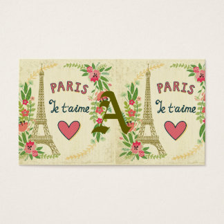 je t'aime,paris,vintage,eiffeltower,heart,flower,r business card