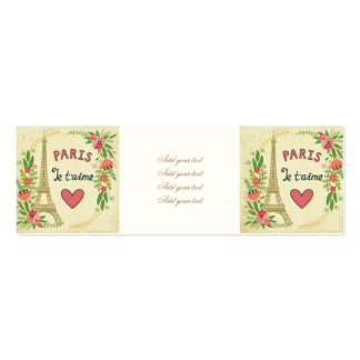 je t'aime,paris,vintage,eiffeltower,heart,flower,r Double-Sided mini business cards (Pack of 20)