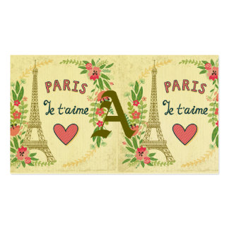 je t'aime,paris,vintage,eiffeltower,heart,flower,r Double-Sided standard business cards (Pack of 100)