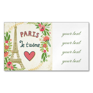 je t'aime,paris,vintage,eiffeltower,heart,flower,r magnetic business card