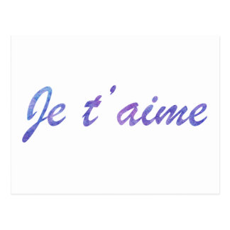 Je t'aime Water colour purple I love you Postcard