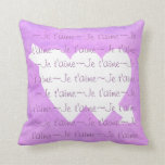 Je t'aime white HEARTS  on PURPLE PINK Pillow
