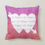 Je t'aime white HEARTS  on PURPLE PINK Throw Pillows