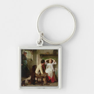 Jealousy and Flirtation Silver-Colored Square Keychain