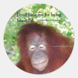 Jealousy: Beautiful redhead Classic Round Sticker