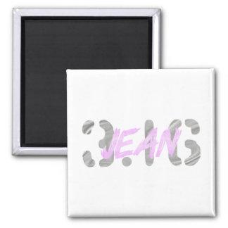 Jean 3.16 Gris clair Rose clair 2 Inch Square Magnet
