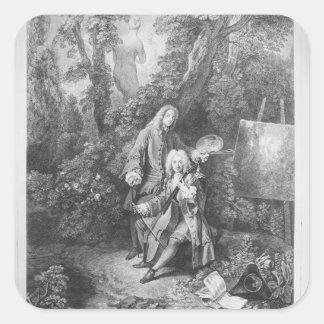 Jean Antoine Watteau and friend Monsieur Square Sticker