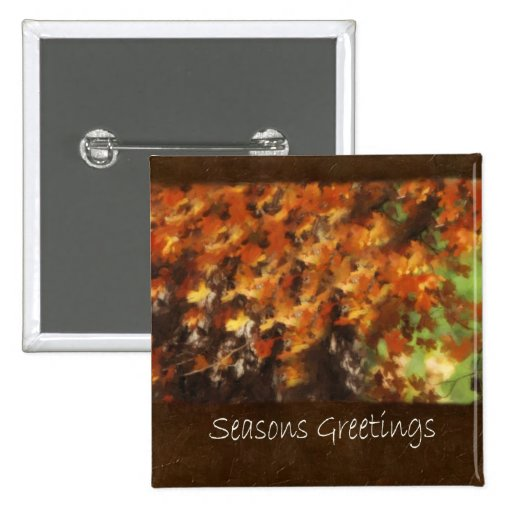 Jean Autumn Leaves 9 Seasons Greetings Button
