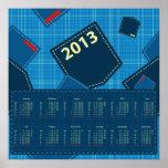Jean azul embolsa el calendario 2013 posters