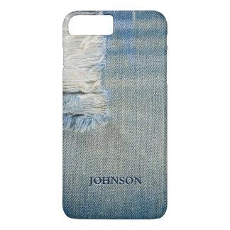 Jean azul fresco y divertido rosca el monograma de funda iPhone 7 plus